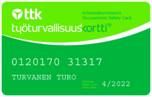 työturvallisuuskoulutus - työturvallisuuskortti